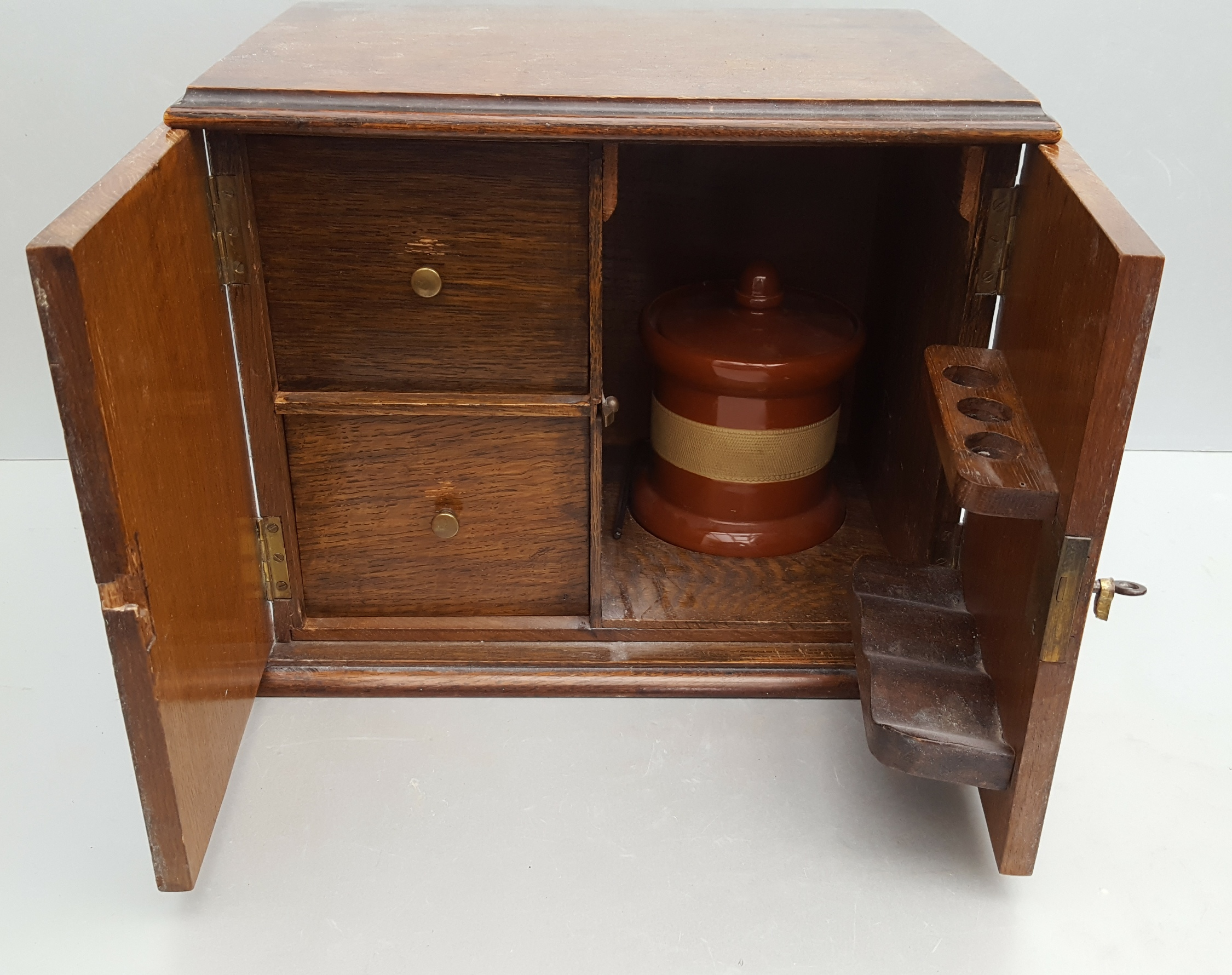 Lot 40 - Vintage Retro Oak Smokers Cabinet Jar A/F NO RESERVE