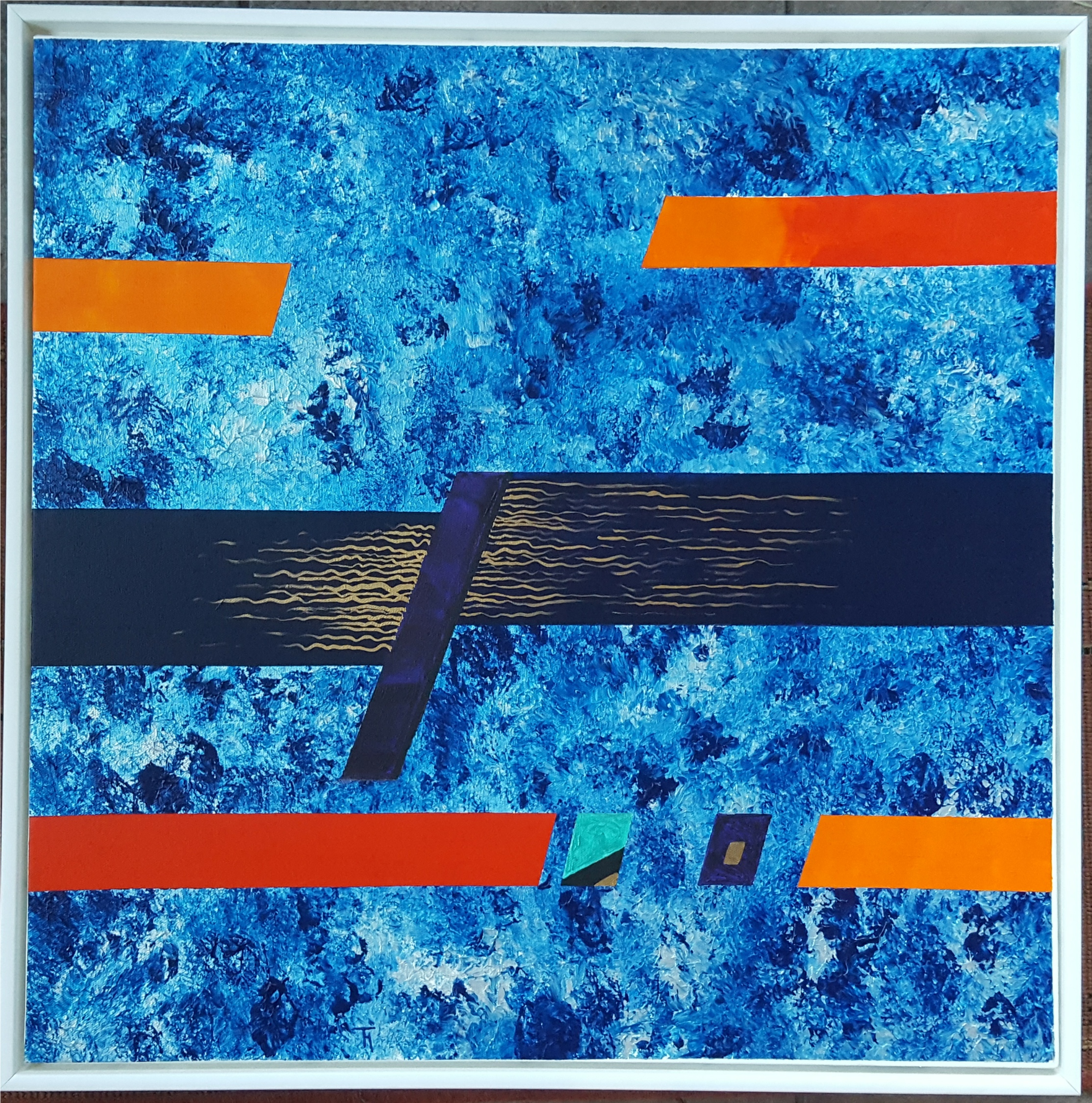 Lot 8 - Collectable Modern Art Acrylic on Canvas Titled Marina by Tom Hackney Signed TH Lower Right