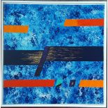 Collectable Modern Art Acrylic on Canvas Titled Marina by Tom Hackney Signed TH Lower Right