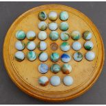 Antique Vintage Wooden Solitaire Game With Original Marbles
