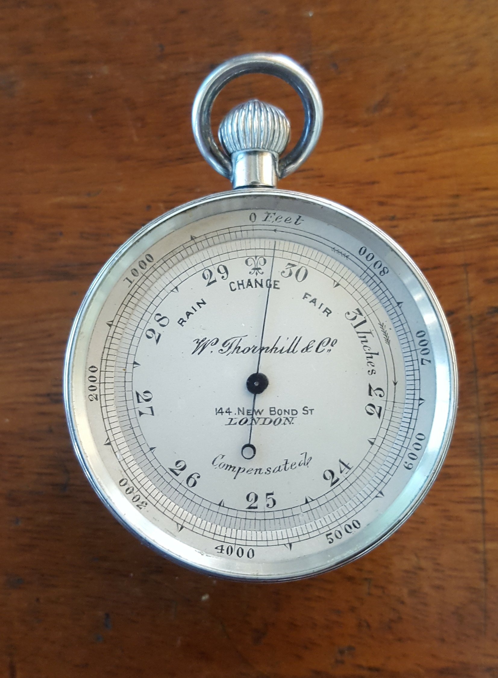 Lot 26 - Antique Sterling Silver W Thornhill & Co. Compensated Pocket Barometer with Compass