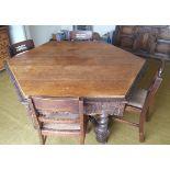 Antique Vintage Victorian Hexagonal Oak Dining Table Bobbin Stretchers & Four Chairs