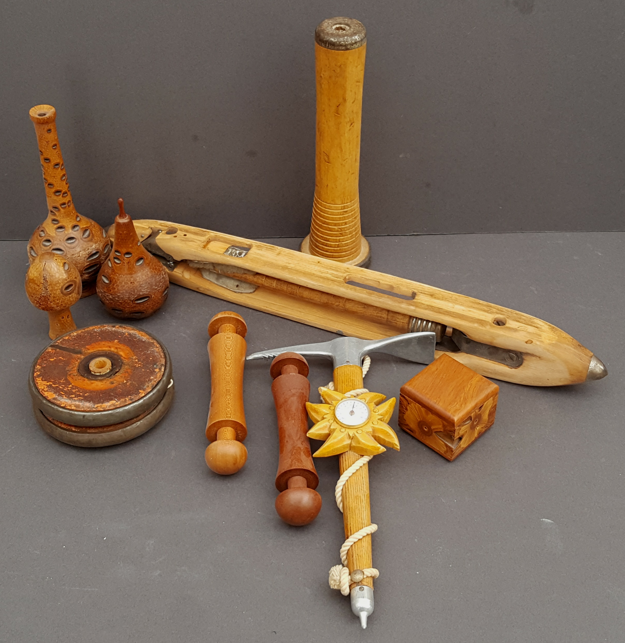 Lot 21 - Antique Vintage Parcel of Treen Includes Ice Axe Barometer & Loom Shuttle NO RESERVE