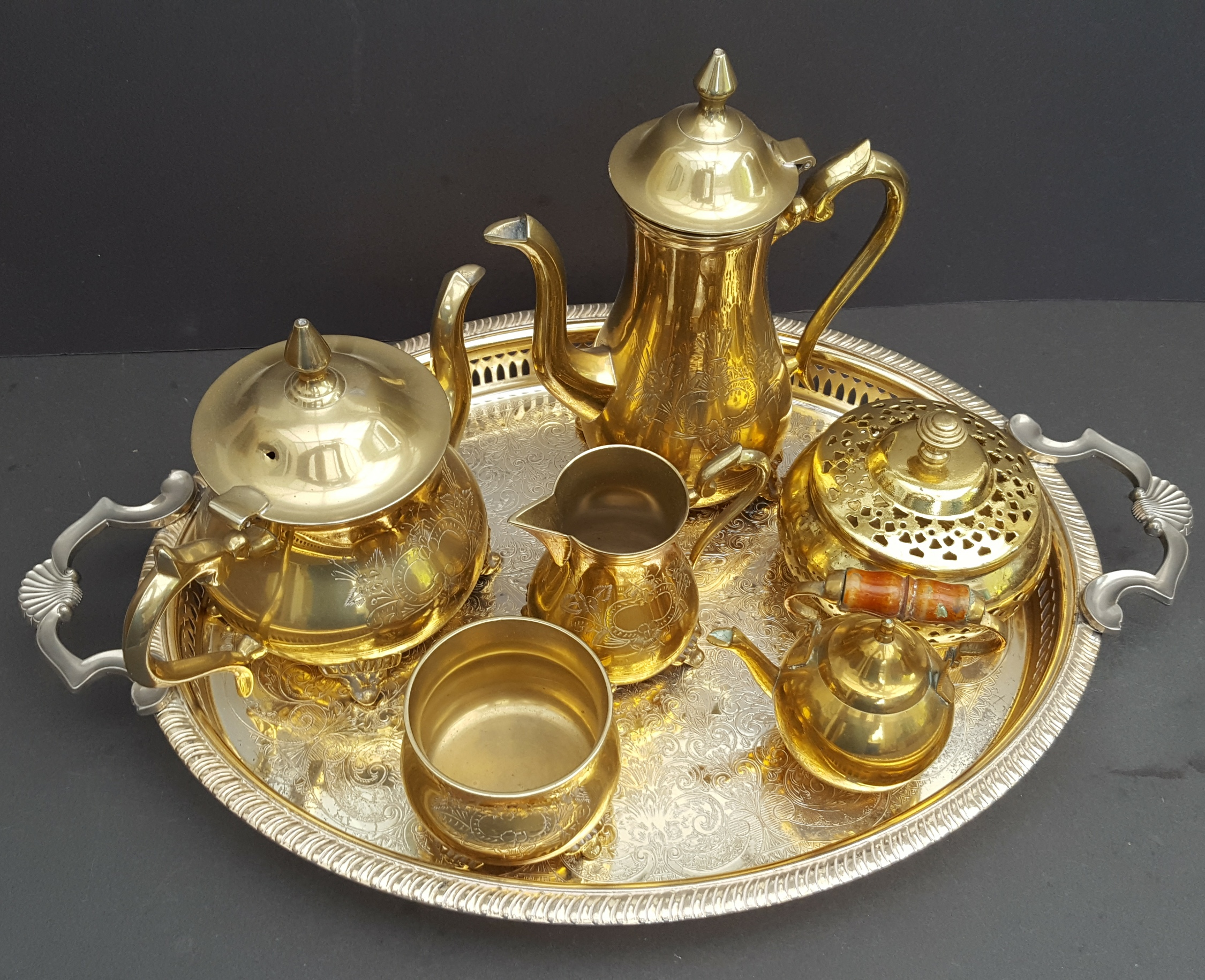 Lot 33 - Vintage Retro Tray of Brass Ware Includes Tea Pot Coffee Pot Jug etc NO RESERVE