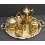 Vintage Retro Tray of Brass Ware Includes Tea Pot Coffee Pot Jug etc NO RESERVE
