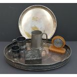 Antique Vintage Tray of Plated Ware Pewter Ware & Travel Barometer.