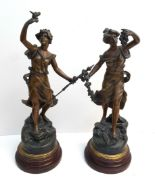 Lot 11 - Antique 2 x Spelter Figures on Wood Plinths