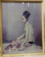 Lot 48 - Vintage Retro Print of Princess Saw Ohn Nyun by Sir Gerald Kelly c1960's In Original Frame