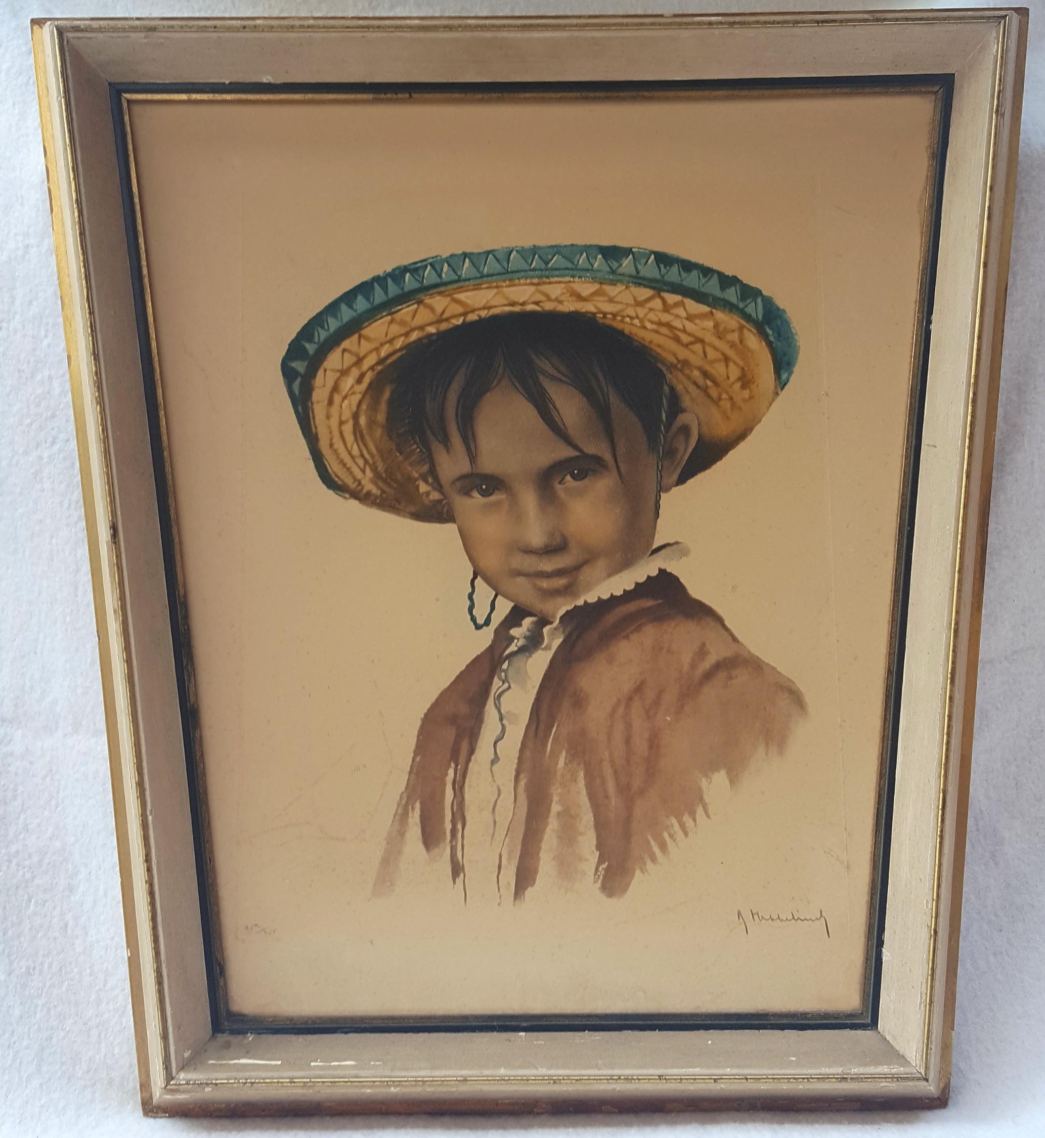 Lot 5 - Vintage Retro Aquatint Print Mexican Boy In Folk Costume
