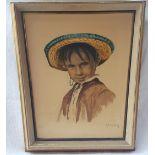 Vintage Retro Aquatint Print Mexican Boy In Folk Costume
