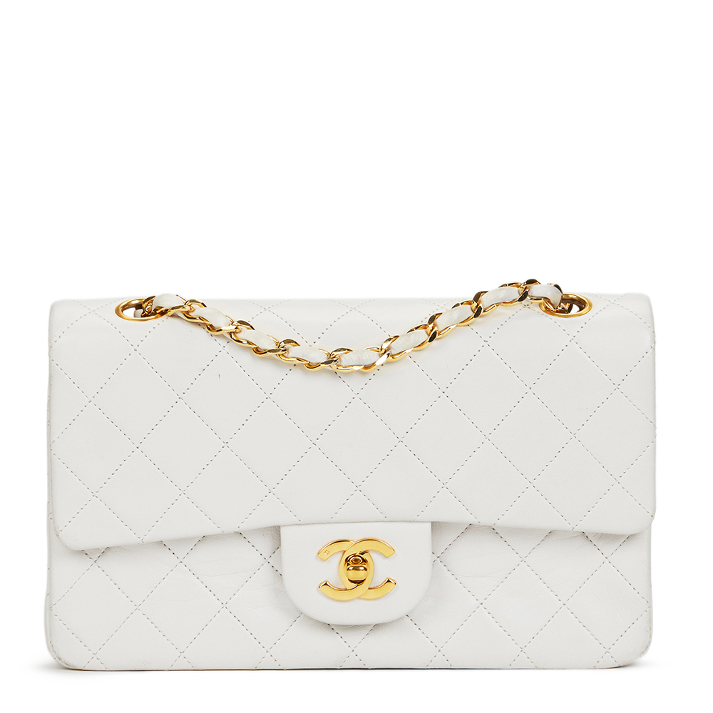 Chanel White Quilted Lambskin Vintage Small Classic Double Flap Bag ... 88e06e3a1c774