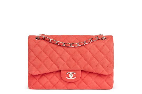 32301cd26c91 CHANEL Pink Quilted Caviar Suede Leather Jumbo Classic Double Flap ...