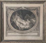 Ponce, Nicolas (1746-1831), Le Verre d' eau, Stahlstich nach Jean-Honoré Fragonard, ca. 34 x 32