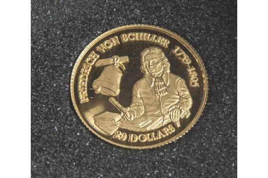 1 Münze, Cook Islands, 20 Dollar, 1996, Gold, Friedrich von Schiller ...