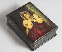 Russische Lackdose mit feiner Miniaturmalerei, Portrait einer jungen Frau in prachtvoller Tracht auf