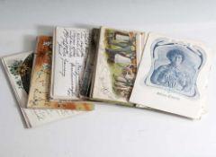 Konvolut von 50 verschiedenen alten Post- bzw. Ansichtskarten, Anfang 20. Jahrhundert.