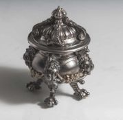 Tintenfass, Gründerzeit, Ende 19. Jahrhundert, Eisen, gegossen, mit Glaseinsatz. Bauchige Form auf