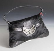 Handtasche, Valentino Garavani, verschiedene Materialien, in schwarzer Farbe mit Strassschnalle. Ca.