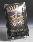 Jubiläums-Emailschild, Allianz, Versicherungs-Aktien-Gesellschaft, neuzeitl., ca. 25 x 17 cm.