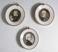 3 Miniaturen, 20. Jahrhundert, mit den auf Elfenbein gemalten Porträts von Mozart, Verdi und
