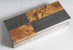 Holzschatulle, Esche-Wurzelholz-Furnier und Weißmetall, rechteckige Form, geometrisch angeordnet,