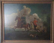 Unbekannter Maler (18. Jahrhundert), Die Beizjagd. Dargestellt sind zwei Adelsherren zu Pferde,