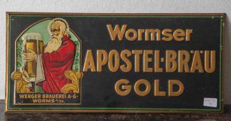 Werbeschild, Wormser Apostel-Bräu Gold, Werger Brauerei A.G. Worms A/RH., Metall geprägt, Felix