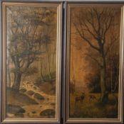 Gemäldepaar, Rotwild in Waldlandschaft, Öl/Lw., 1 x re. u. unleserlich signiert u. datiert 1901. Ca.