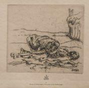"""Steinhagen, Heinrich (1880-1948), """"Pièta"""", Radierung, im Druck re. u. sign., ca. 17,5 x 19,5 cm,"""
