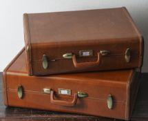 2 Vintage-Reise-Koffer, Samsonite, Modell Streamlite, 1950/60er Jahre, Kunststoff, hellbraun,