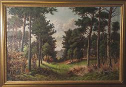 Unbekannter Künstler (20. Jahrhundert, wohl Wolgast/Usedom), Waldlandschaft mit Rehen, Öl/Lw, re.