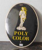 Emailschild gewölbt, Polycolor, rücks. bez. 40 jähr. Jubiläum Nr. 1016. Gr. ca. 39,5x30cm