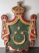 Wappenschild Ägypten, holzgeschnitzt und farbig gefasst. Prov. Palast von König Farug, Kairo. Wappen