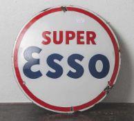 """Emailschild, mit Aufschrift """"Super Esso"""", Eigentum der D.A.P.G. Hamburg Torpedo, gewölbt, sehr"""