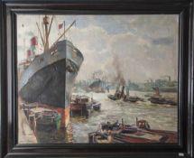 Wöhner, Louis (1888-1958), Ansicht im Hamburger Hafen, Öl/Lw, li. u. sign., rs. am Rahmen bez. Ca.