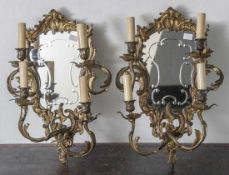 Paar Wandgirandolen, je 4-flammig (elektr.), im Stil des Rokoko, feiner Bronzeguss,