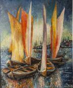 Hochim (20. Jahrhundert), Segelboote im Hafen, Öl/Lw., re. u. sign., ca. 80 x 66 cm, Holzrahmung.