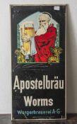 Werbeschild, Apostelbräu Worms, Wergerbrauerei A.G., Blech, Blechwaren Fabrik Limburg Lahn. Ca. 63 x