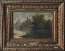 Unbekannter Künstler (19. Jahrhundert), Landschaftsdarstellung, Burgruine an Flußlauf. Öl/Lw.,