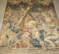 Wandteppich, wohl Flandern, um 1700, Wolle gewebt, mythologische Szenerie. Ca. 325 x 285 cm,