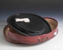 Zylinder - Chapeau Claque, um 1900, Marke Ideal, schwarzes Seidentuch und Seidenrips, Innenfutter.