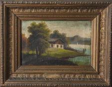 Unbekannter Künstler (19. Jahrhundert), Landschaftsdarstellung, Seelandschaft m. bäuerlichem