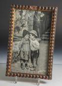 Seidenstickarbeit, Brüderchen und Schwesterchen, um 1900, in Schwarz-Weiß, ca. 28,5 x 17 cm,