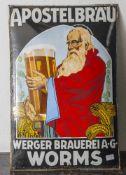 Werbeschild, Apostelbräu, Werberger Brauerei A.G. Worms, 1920er/30er Jahre, Herst. bez. Boos & Hahn,