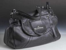 Damenhandtasche, Etienne Aigner, schwarzes Leder, leicht strukturiert, Metallmontierung. 1