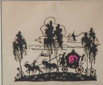 Scherenschnitt, 1. Hälfte 20. Jahrhundert, Märchenmotiv, Königliche Kutsche mit Prinzessin, farbig
