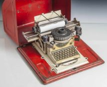 Miniaturschreibmaschine, Junior, D.R.P. USA Patente D.R.G.M., Made in Germany, funktionsfähig.