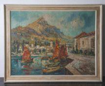 Gerhard, Adolf (1910-1975), Maderno am Gardasee, Blick auf im Hafen von Maderno liegende kleine