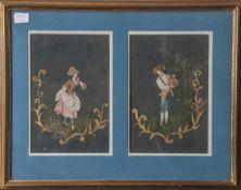 2 Zeichnungen, Fräulein u. Knabe, 18./19. Jahrhundert, Pastell auf Stoffuntergrund, unleserl.