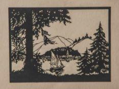Scherenschnitt, 1. Hälfte 20. Jahrhundert, Bergsee mit Segler, ca. 20 x 15 cm, hinter Glas